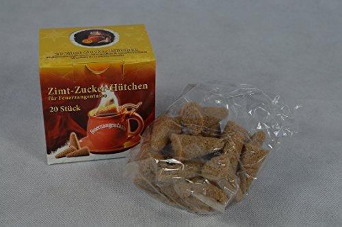 20 Stück (1X20) Zimt-Zuckerhütchen a 8g Zuckerhut Zucker Zimt für Feuerzangentasse Weihnachten Feuerzangenbowle Geburtstag Sylvester