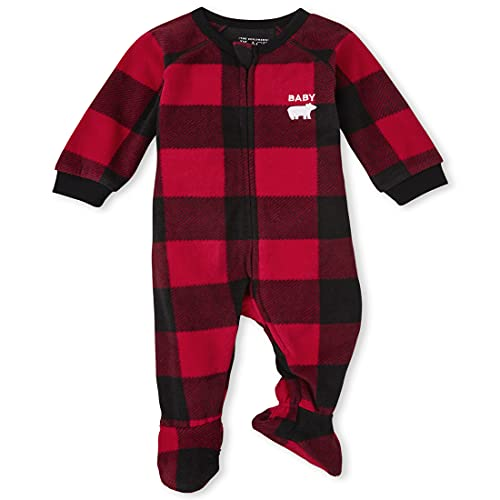 The Children's Place Baby and Toddler Holiday Fleece One Piece Zip Up Pajamas, Red Buffalo Plaid, 2T