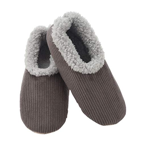 Snoozies Mens Corduroy Slippers Slippers for Men | Mens House Slippers | Fuzzy Slippers with Soft Soles | Grey | X-Large