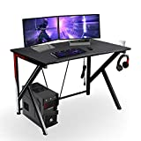 Gaming Computer Desk 46 Inch Large Gaming Table K Shape Black Racing Table Student Desk with& Headphone Hook for Kids Adults Home Office Bedroom Computer Workstation