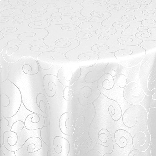 DecoHomeTextil Gastro Ornamente Tischdecke Oval 160x220 cm Weiß mit Saumrand - Größe & Farbe wählbar