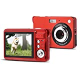 2.7 Inch Digital Video Camera, Mini Compact Digital HD Camera for Backpacking, 8X Automatically Digital Zoom, 5MP Full High Definition, Face Detection And Smile Capture Function, SD Card Storage(Red)