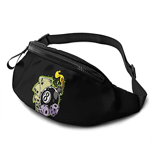 Poker Dice Cartoon Riñonera Casual,Fanny Pack Hip Bum Bag Belt Bag For Mujeres Hombres al Aire Libre Workout Traveling Hiking Running Cycling