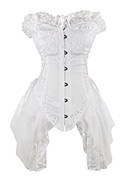 Charmian Women s Sexy Strapless Floral Embroidery Mesh Princess Gothic Vintage Bustier Corset with Lace Skirt White Medium