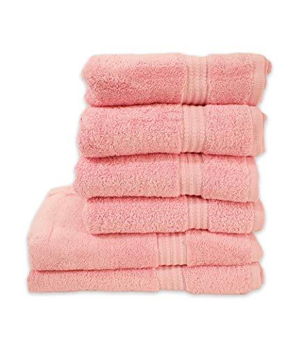 PimpamTex – Juego de Toallas Premium 700 Gramos de Secado Rápido para Baño, 100% Algodón, Pack Toallas de Baño + Toallas de Mano – (Rosa, 2 de 70x140 cm + 4 de 50x100 cm)