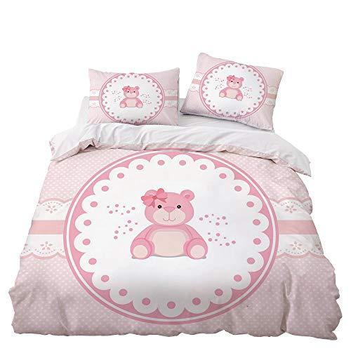 GD-SJK Bedding Sets for Children, Bedding Girls 220 x 240 cm Girls Bed Linen, Children's Bedding Horse Motif, Pillowcase 75 x 50 cm + Duvet Cover, Bedding 3 Pieces, Bedding Pink (220 x 240 cm, A08)