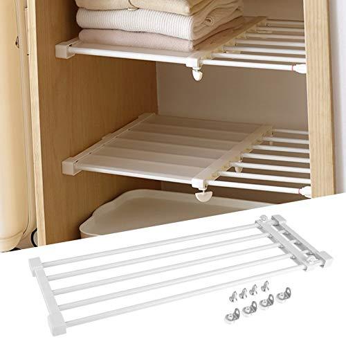LETS DIY 17.7 - 25.6 inch Expandable Tension Shelf Entire 5 Tubes Clothes Cabinet Closet Organizer Rack Adjustable DIY Wardrobe Dividers Separator