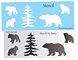 Joanie 5'W12'L Stencil Rustic Momma Bear Cubs Lodge Tree Mountain Cabin Outdoor DIY Signs