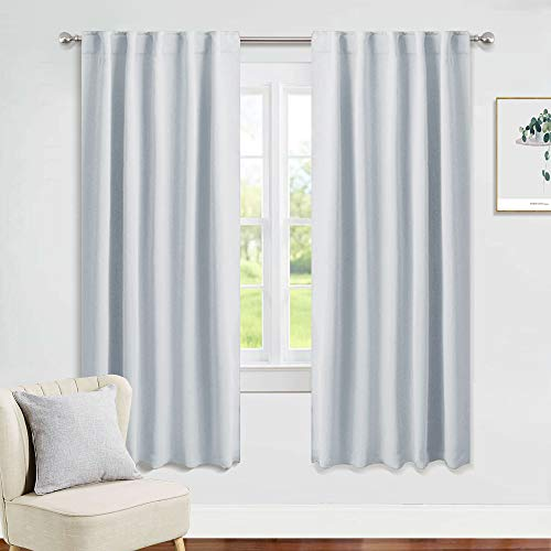 PONY DANCE Window Curtain Panels - Room Darkening Energy Saving Curtains for Kitchen/Bedroom with Back Tab Home Decor, 42 Wide by 63 Inches Long, Greyish White, 2 Pieces