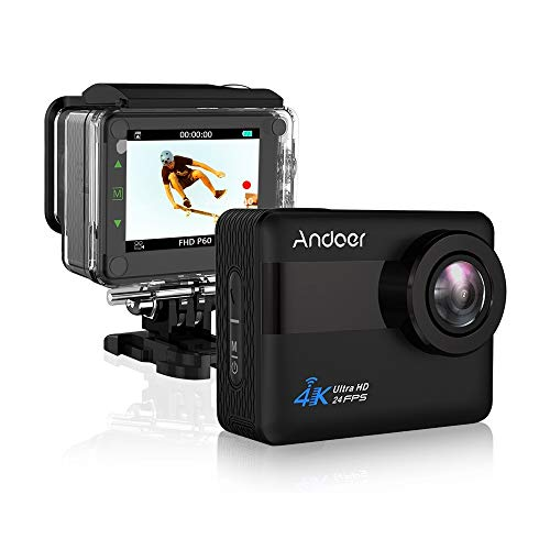 Andoer AN1 4K WiFi Sports Action Camera 1080P Full HD 20MP Anti-Shake 5X Zoom External Mic Voice Prompt 170° Wide Angle Waterproof 30m