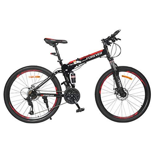 SJWR Bicicleta De Montaña Plegable De 24 Pulgadas para Hombres Y Mujeres, Bicicleta De MTB con Asiento Ajustable con Rueda De Radios, Negro Y Rojo,21 Speed