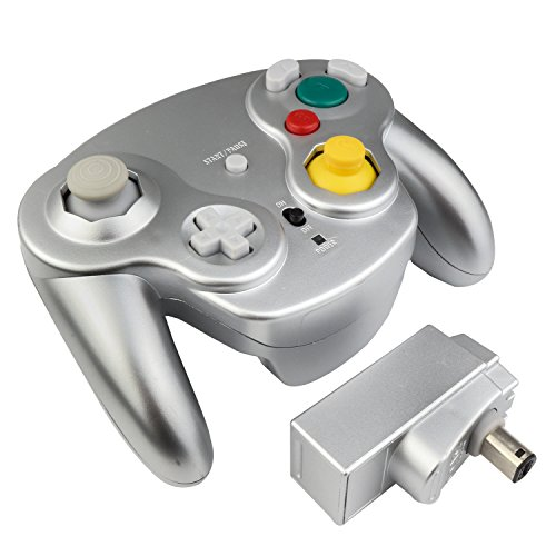 Exlene® Wireless Controller Gamepad For Nintendo Gamecube,Compatible with Wii (silver)