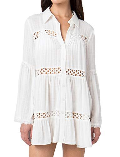 Bsubseach Cubre Bikini Vestido Corto de Manga Larga Cuello de Camisa con Botones Hueco Blanco para Mujer