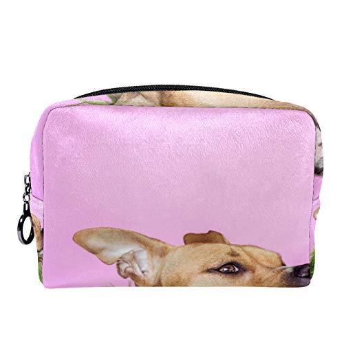 Neceser de maquillaje para mujeres y niñas, bolso de cosméticos de viaje, organizador de perro con abrigo de piel verde