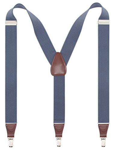 Bioterti Men's Y-shape 1.4 Inch Suspender -3 Metal Clips, Elastic Straps (Light Blue)