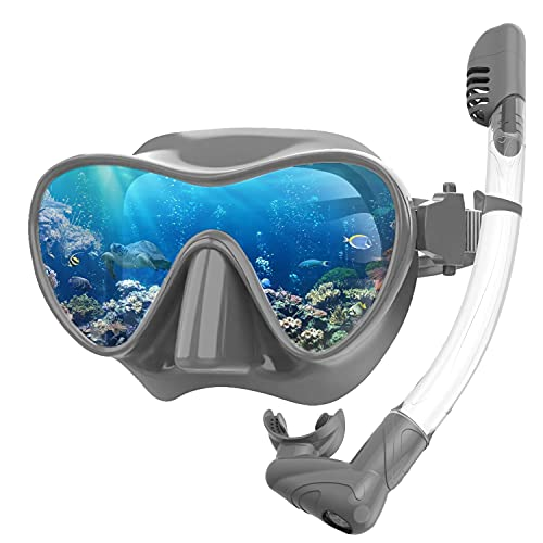 Rodicoco Snorkel Set Frameless Snorkel Goggles Foldable Snorkel Gear Detachable Snorkel Mask with 180Degree Panoramic View and Anti Fog Tempered Glass for Swimming Scuba Diving Snorkeling(Grey, L)