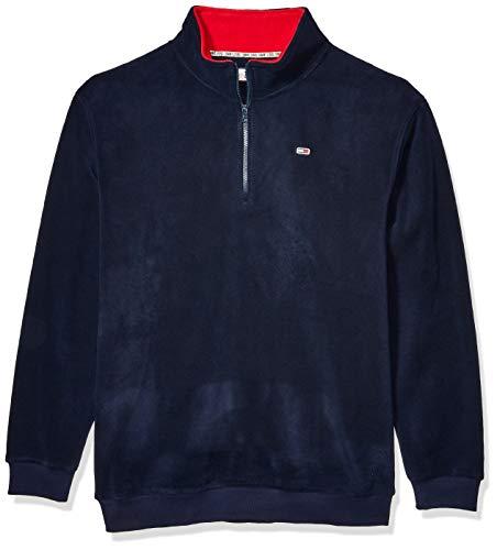 Tommy Hilfiger Men's Polar Fleece Quarter Zip Sweatshirt, Black IRIS, MD