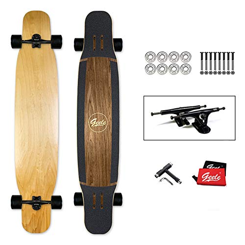 YJCol Longboard 117x24cm Skateboard, inkl. T-Tool mit Hochgeschwindigkeits-ABEC-Lagern, Pro Anfänger Dance Board für Cruising, Carving, Free-Style und Downhill Skateboard,Wood Color