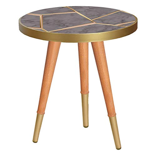 Inbox Multi-colour Round Side End Coffee Table Wood Printed Top (Height 50 cm, Grey Marble)