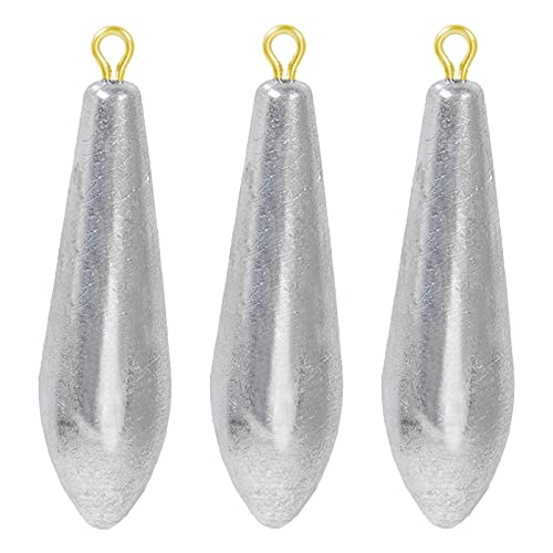 AMYSPORTS Drop Shot Fishing Weights Kit Lead Freshwater Fishing Sinkers Bullet Casting Removable Fishing Weights Saltwater Streamlined 8pcs 2.1oz