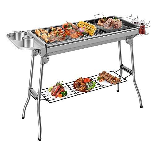Luorizb Holzkohle-Grill, beweglicher faltender Grill, Edelstahl-Tischgrill, for Garten-Grill, Outdoor-Camping-und Picknick, mit Antihaft-Bratpfanne (für 5-10 Personen)