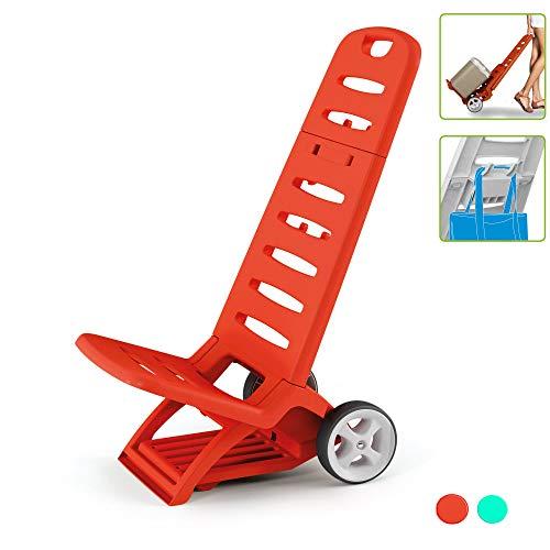Kreher Rollbarer und zusammenklappbarer Campingstuhl/Strandstuhl mit Belastbarkeit bis 110 kg. 2 in 1 Design, umwandeln zum Transport Trolley möglich (Rot)