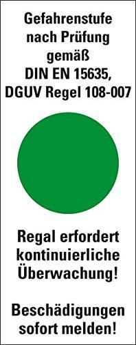 LEMAX® Hinweisschild Gefahrenstufe grün,DGUV Regel 108-00F7,Folie,40x101,6mm,5/Bogen