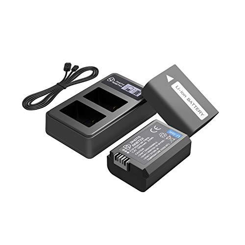 PHOTO MASTER 2x NP-FW50 Batteria (1200mAh) e LCD Doppio Caricabatterie per A6100, A6400, A6300, A5100, RX10 IV, RX10 III, RX10 II, α7R II, α7S II, α7 II, Sony NEX 3/5/7 Serie, SLT-A Serie, Alpha Serie