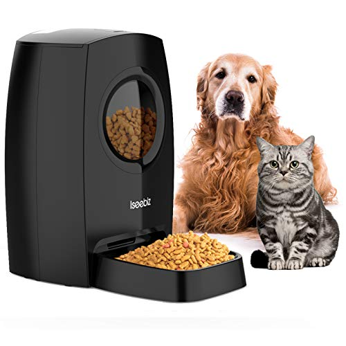 Iseebiz Automatic Pet Feeder 6L, Dogs Cats Food Dispenser 4 Meals a Day with Visible Food Window, Voice Record Remind, Timer Programmable, Portion Control, IR Detect, for Medium & Large Dogs Cats Pet
