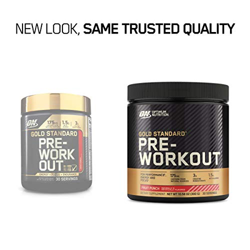 OPTIMUM NUTRITION Gold Standard Pre-Workout with Creatine, Beta-Alanine, and Caffeine for Energy, Flavor: Fruit Punch, 30 Servings