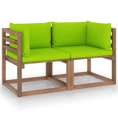 vidaXL Pino Sofá de Palets de Jardín 2 Plazas Cojines Mueble Terraza Patio Exterior Hogar Silla Sillón Asiento Suave con Respaldo Verde Brillante