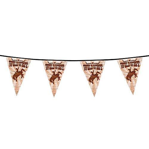 Boland 54350 – Banderines de 600 cm de Longitud de los Oestes, Vaquero, Caballo, Cadena de Bandera, Guirnalda de plástico, decoración Colgante, Carnaval, Fiesta temática, cumpleaños, guardería