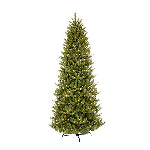 Puleo International 10 Foot Pre-Lit Slim Fraser Fir Artificial Christmas Tree with 900 UL Listed Clear Lights, Green