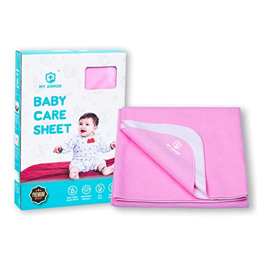 MY ARMOR Quick Dry Waterproof Baby Bed Protector Dry Sheet for Babies - (Medium, Baby Pink)