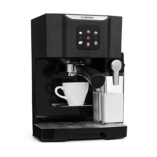 Klarstein BellaVita TotalBlack Edition Máquina de café - Cafetera 3 en 1: para capuccino, espresso y latte macchiato, espumadora de leche, 1450 W, Depósito con capacidad de 1,4 lt, Autolavado, Negro