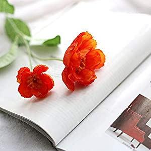 Artificial and Dried Flower 1PC Artificial Silk Flower 2 Heads Fake Poppy Wedding Flowers for Garland Hair Home Decoration Bouquet Fake Tea Rose Flower – ( Color: 6 )