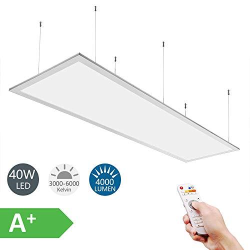 Anten 40W LED Panel dimmbar 120x30 cm mit CCT Fernbedienung und Farbwechsel von Warmweiß bis Kaltweiß fürs Büro als Pendelleuchte oder Einbau Deckenlampe.