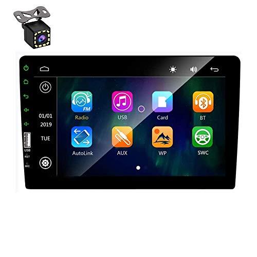 Hodozzy Double Din Autoradio mit Bluetooth 9-Zoll-Touchscreen Autoradio MP5-Player FM-Radioempfänger, Multimedia-Player-Spiegelverbindung, USB-Eingang, SWC mit 8 LEDs Rückfahrkamera