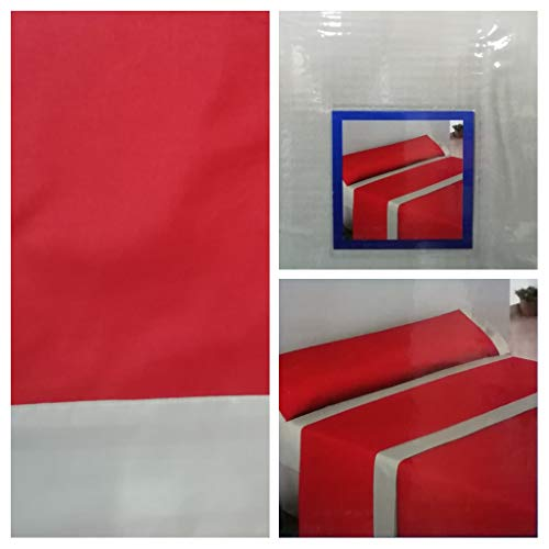 Energy Colors Textil - Hogar Juego SÁBANAS DE Verano Lisas (3 Piezas) para Cama Grande de 150 x 190/200 cm (LIQUIDACIÓN) (Beis/Rojo)