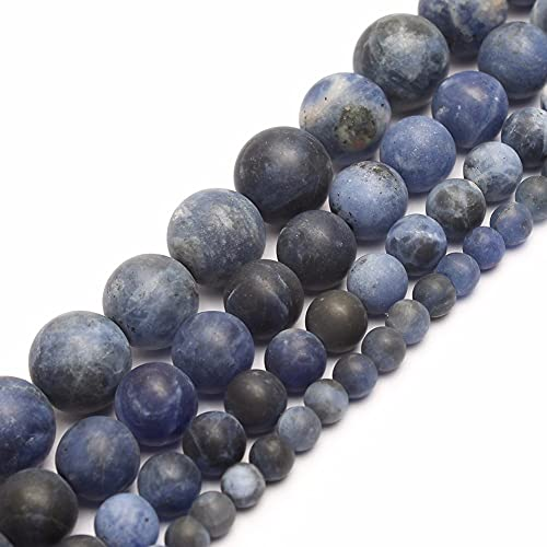 HUKGD Cuentas de Piedra Natural Mate Pulido Mate Azul Antiguo Cuentas Redondas de Piedra de sodalita para Hacer Joyas 4/6/8/10 Mm Cuentas DIY joyería 10mm 38pcs Beads