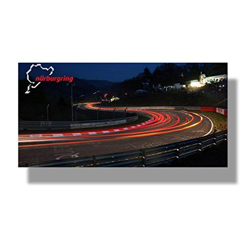 QYH Nurburgring Rally Road Sports Car Track Night View Print Canvas Painting Wall Art Poster Living Room Home Decor Picture -70X140Cm X1 Pcsno Frame