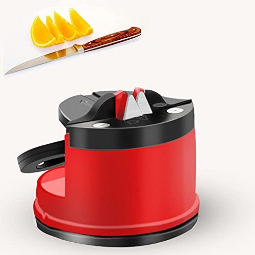 Affilacoltelli, affilacoltelli professionale con ventosa, affilacoltelli da cucina, utensile da cucina per affilare coltelli e forbici per affilare con lama dritta e ondulata (dente)