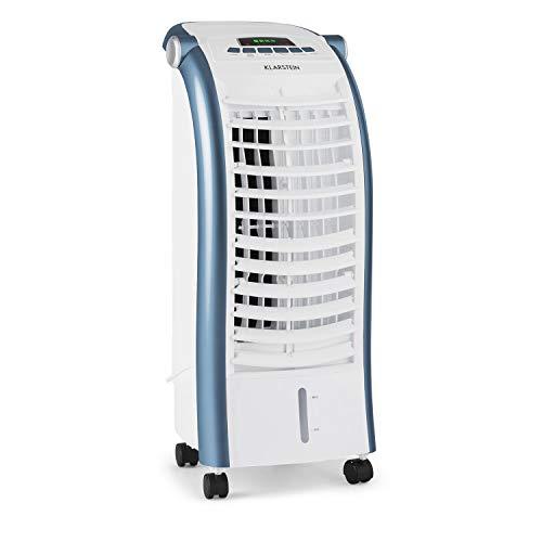 Klarstein Maxfresh - Raffrescatore Evaporativo, 3in1: Umidificatore, Ventilatore, Rinfrescatore, 444m³/h, Serbatoio 6L, 55W, 3 Modalità, Timer 15 h, Telecomando, 2x Siberini, Bianco/Blu