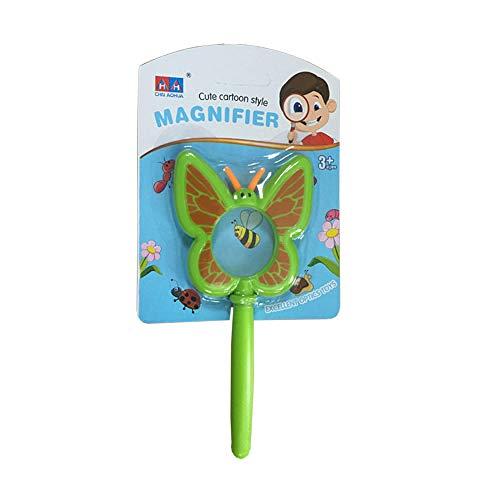 ZKZK Lupenglas für Kinder,Cartoon Lupe Nettes Schmetterlingsinsekt Gefärbt Pädagogische Insektenbeobachtung für Kleinkinder, Abenteuer im Freien, Optisches Spielzeug( Grün)