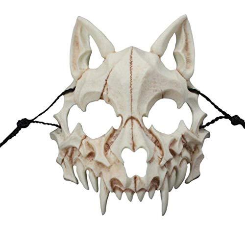 N\C Máscara de Halloween Máscara de Hombre Lobo dragón japonés Cosplay Máscaras de Calavera de Animales Resina Natural Unisex Fiesta Escenario Desgaste