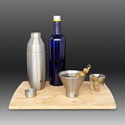 Snowfox Martini Stainless Steel Cocktail, Glass Set, Olive Grey