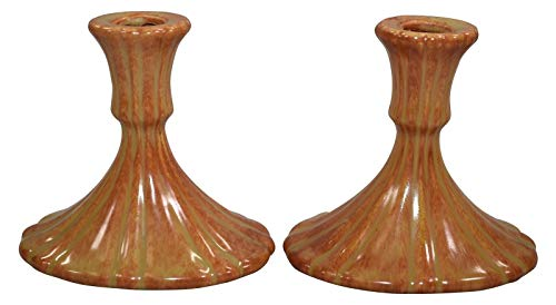 Roseville Pottery Tourmaline Orange Candle Holders 1089-4