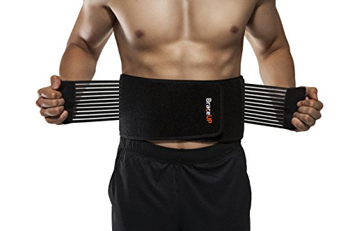 BraceUP Breathable Stabilizing Waist Lumbar Lower Back Brace Support Belt for Sciatica, Herniated Disc, Scoliosis Back Pain relief , Heavy lifting work, Gym Workout Men/Women with Dual Adjustable Straps (L/XL)