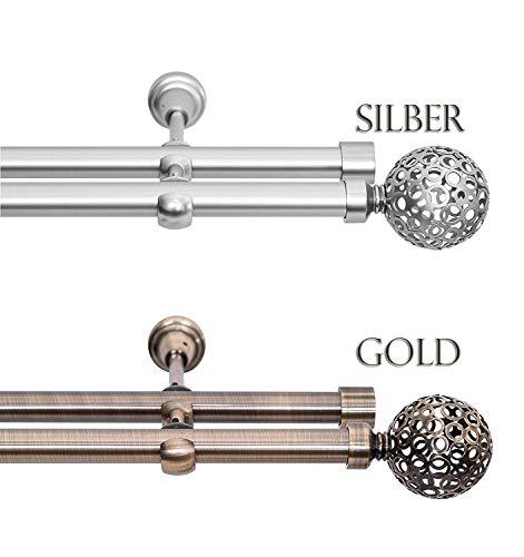 Rollmayer Chrom Matt Vorhangstange/Gardinenstange aus Metall Ø 19mm (240cm Goplana, im Silber, 2-läufig) einfache Montage Verschiedene Größen und Endstücken Ohne Ringe!