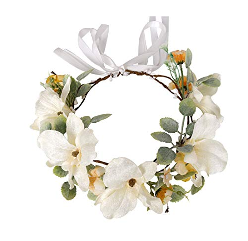DreamLily Boho Flower Crown Greenery Floral Hair Wreath Wedding Bridal Headpiece Bridesmaid Headband DFS08 (Ivory Lily)